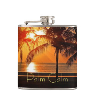 Sunset Beach, Palm Trees in Sand Yellow Oranges Hip Flask