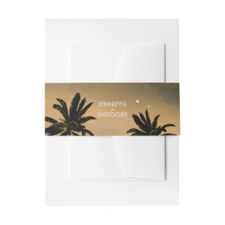 Sunset Beach Palms Wedding Invitation Belly Band