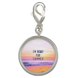 """Sunset Beach """"Ready for Summer"""" Quote Charm"""