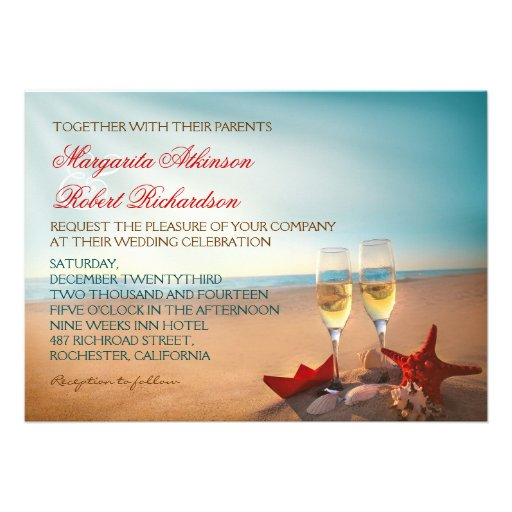 Sunset Beach Romantic Wedding Invitations Personalized Invite