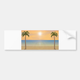 Sunset Beach Scene: Bumper Sticker