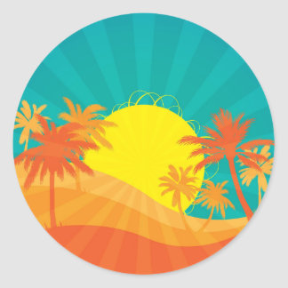 Sunset Beach tropical retro surf design Classic Round Sticker