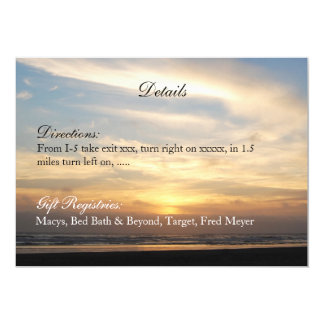 Sunset Beach Wedding Details Reception Card