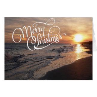 Sunset Beach With Glowing Sun Christmas Card