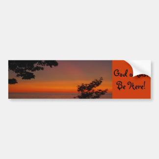sunset beauty, God Must Be Here! Car Bumper Sticker