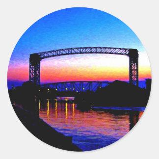 Sunset behind a Bridge Classic Round Sticker