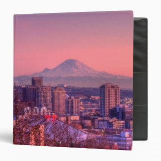 Sunset behind Seattle skyline from Kerry Park. 3 Ring Binder