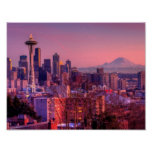 Sunset behind Seattle skyline from Kerry Park. Poster