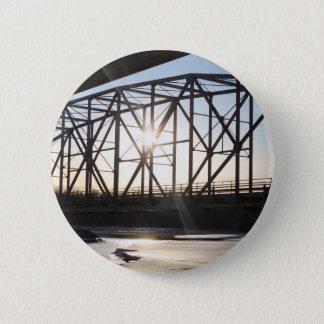 Sunset behind the bridge to Palmer Alaska 2 Inch Round Button