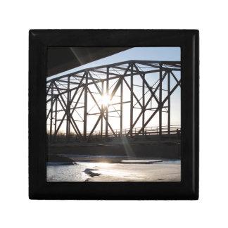 Sunset behind the bridge to Palmer Alaska Gift Box