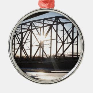 Sunset behind the bridge to Palmer Alaska Metal Ornament