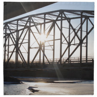 Sunset behind the bridge to Palmer Alaska Napkin
