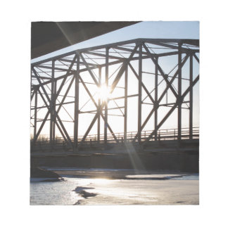 Sunset behind the bridge to Palmer Alaska Notepad