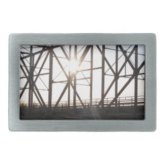Sunset behind the bridge to Palmer Alaska Rectangular Belt Buckle