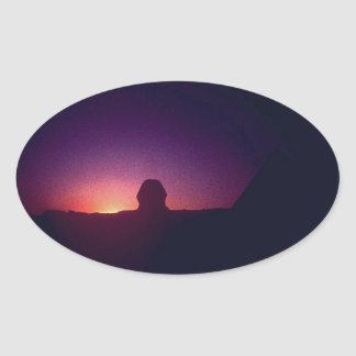 Sunset behind the Sphinx Oval Sticker
