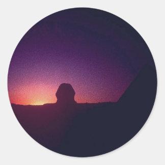 Sunset behind the Sphinx Round Sticker