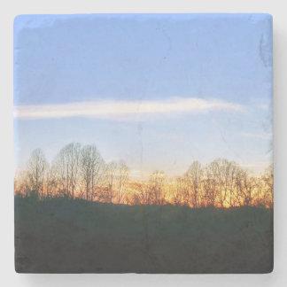 Sunset Behind Trees Stone Coaster