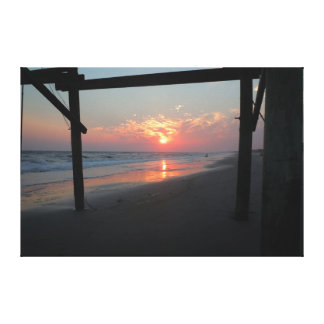 Sunset Beneath the Pier - Oak Island, NC Canvas Print