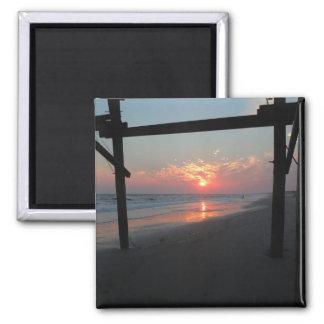 Sunset Beneath The Pier - Oak Island, NC Magnet