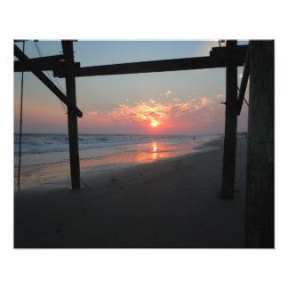 Sunset Beneath the Pier - Oak Island, NC Art Photo