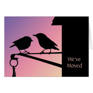 Sunset Birds Change of Address Card