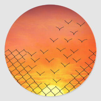 sunset birds escape classic round sticker