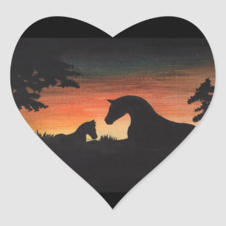 'Sunset Birth' Horse Collection Heart Sticker