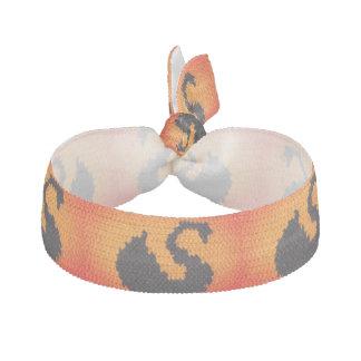 Sunset Black Swan Crochet Print Stretch Bracelet / Hair Tie