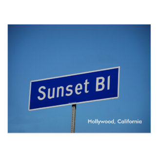 Sunset Blvd, Hollywood, California Postcard