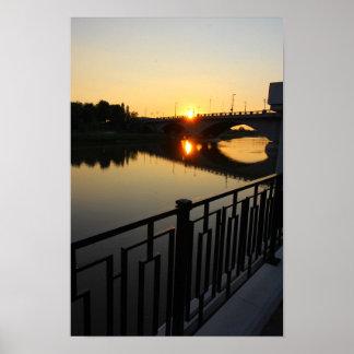 Sunset, Broad Street Bridge, Columbus, OH Poster