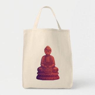 Sunset Buddha Pixel Art Grocery Tote Bag