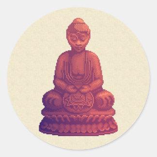 Sunset Buddha Pixel Art Classic Round Sticker