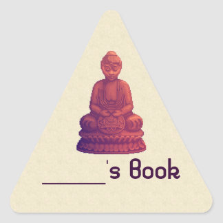Sunset Buddha Pixel Art Triangle Sticker