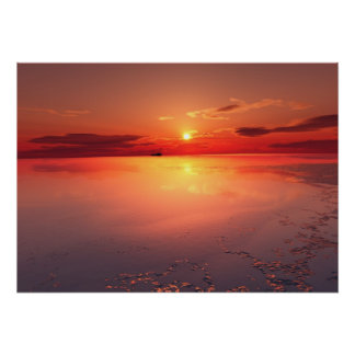 sunset: burning ice poster