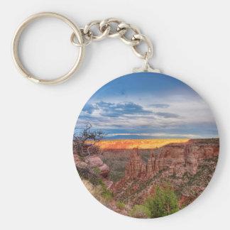 Sunset Burning Ridge Colorado National Monument Basic Round Button Keychain