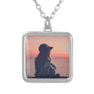 sunset by the beach silver plated necklace