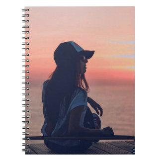 sunset by the beach spiral notebook