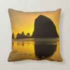 Sunset, Cannon Beach, Oregon, USA Throw Pillow