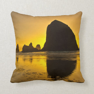 Sunset, Cannon Beach, Oregon, USA Throw Pillow
