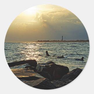 Sunset Cape May Round Sticker