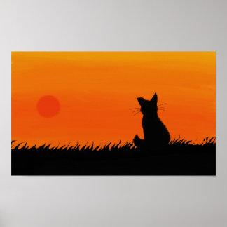 Sunset cat poster