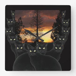 Sunset Cats Square Wall Clock