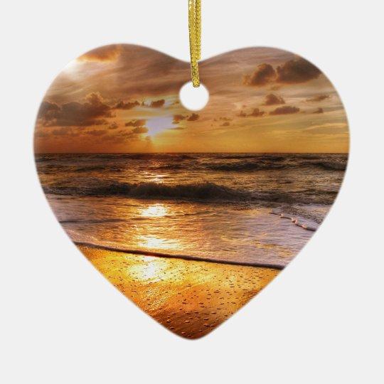Sunset Ceramic Heart Ornament