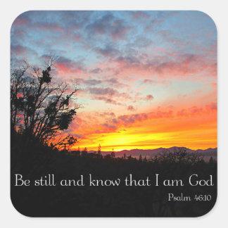 Sunset Christian Bible Verse Creationarts Square Sticker