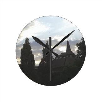 Sunset Church Round Clock