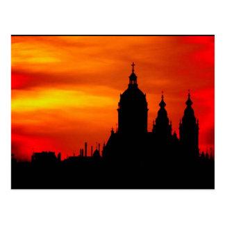 Sunset Church Silhouettes Postcard