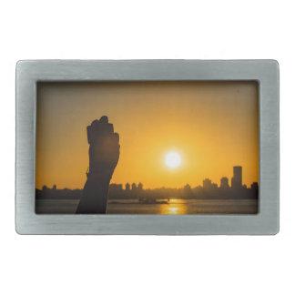Sunset Cityscape Scene, Montevideo, Uruguay Rectangular Belt Buckle