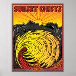 SUNSET CLIFFS SAN DIEGO CALIFORNIA SURFING POSTER