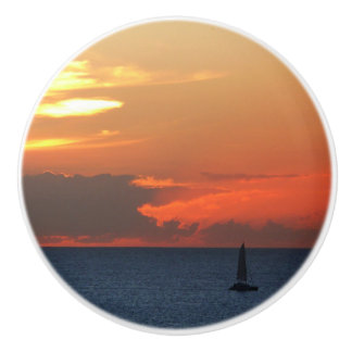 Sunset Clouds and Sailboat Seascape Ceramic Knob