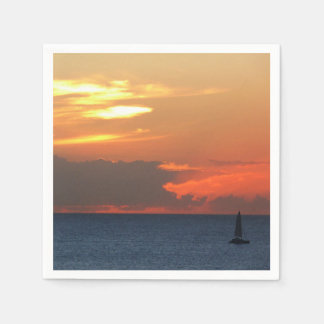 Sunset Clouds and Sailboat Seascape Paper Napkins